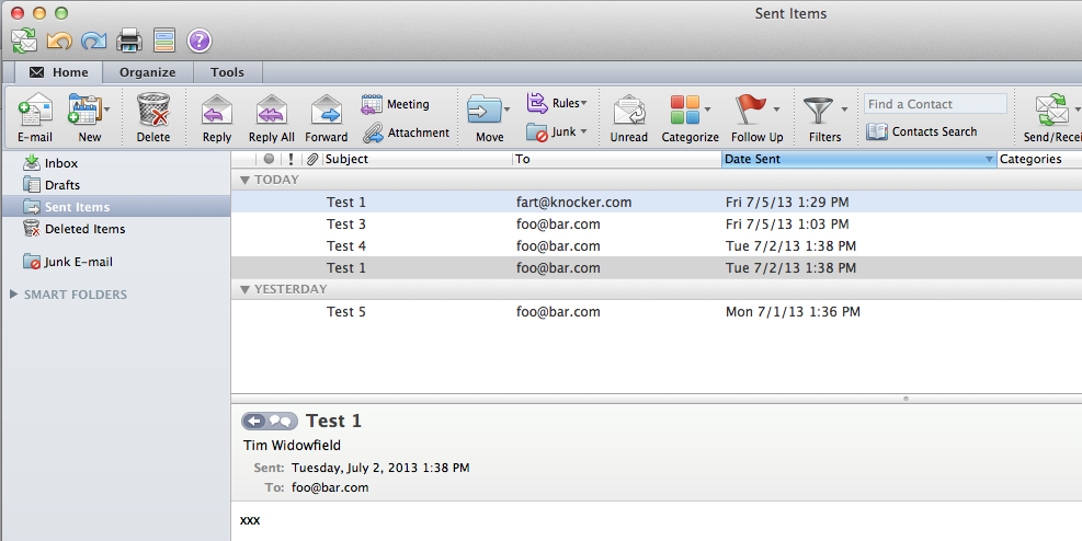 Outlook Sent Folder Experiment
