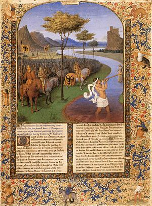 Jean Fouquet: Caesar Crossing the Rubicon (Wikipedia)