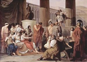 Odysseus telling traveler tales