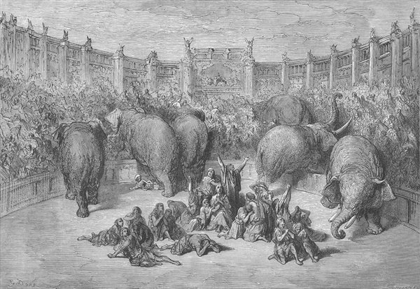 Captive Jews in the hippodrome at Alexandria, engraved by Josiah Wood Whymper by Gustave Dore