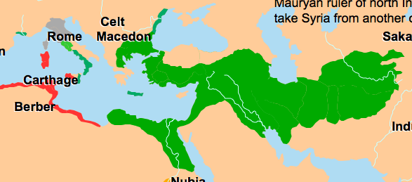 Greeks migrated everywhere -- the dark green and more. Map from http://www.atlasofworldhistory.com/