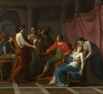 Painting by Jean-Joseph Taillasson: Virgil reading the Aeneid to Augustus and Octavia. (Photo credit: Wikipedia)