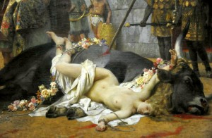 Christian Dirce by Henryk Siemiradzki (National Museum, Warsaw) shows the punishment of a Roman woman who had converted to Christianity.[13] At the Emperor Nero's wish, the woman, like mythological Dirce, was tied to a wild bull and dragged around the arena.