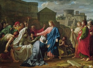 Jesus Resurrecting the Son of the Widow of Naim (oil on canvas) by Bouillon.