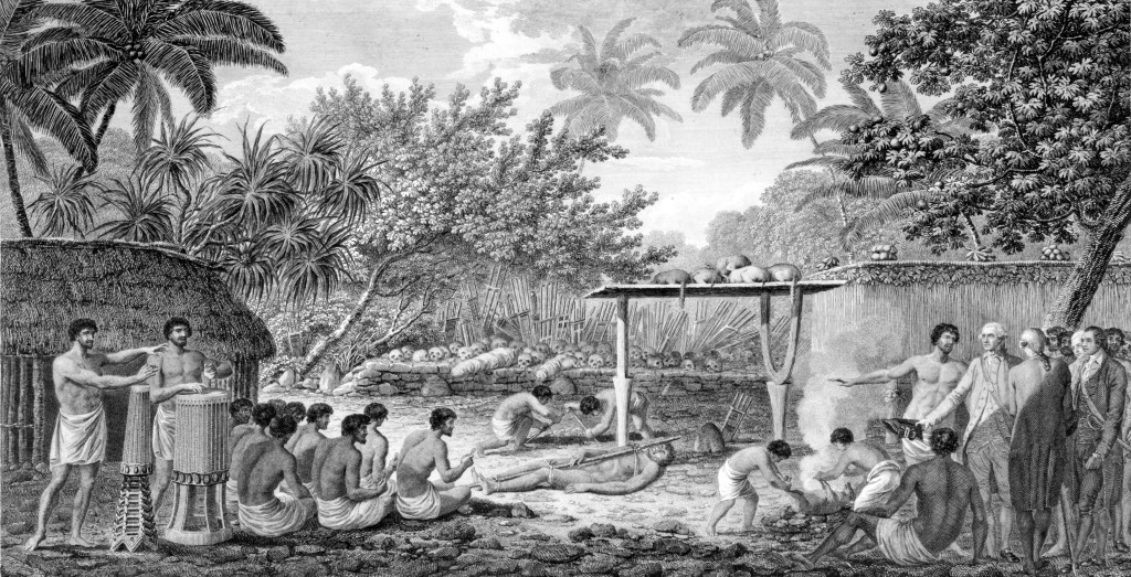 James Cook witnessing human sacrifice in Tahiti c. 1773 -- Wikipedia