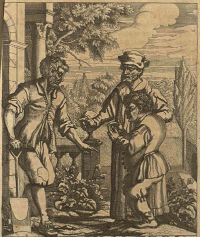 """This worthless slave has learning?"" asked the gardener. Aesop laughed and said to him, ""You should talk, you miserable wretch!"" ""I'm a miserable wretch?"" exclaimed the gardener. ""You're a gardener, aren't you?"""