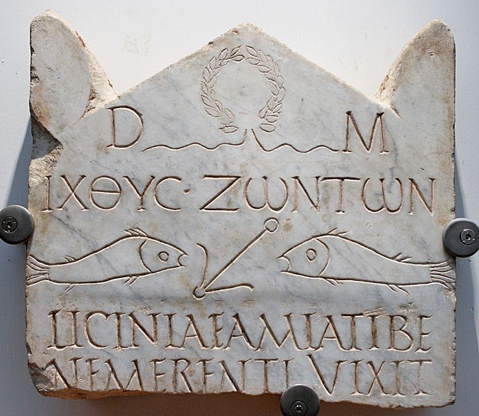 Funerary stele of Licinia Amias, one of the most ancient Christian inscriptions. ΙΧΘΥC ΖΩΝΤΩΝ Ikhthus zōntōn fish of the living
