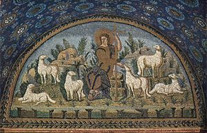 The Good Shepherd, mosaic in Mausoleum of Gall...