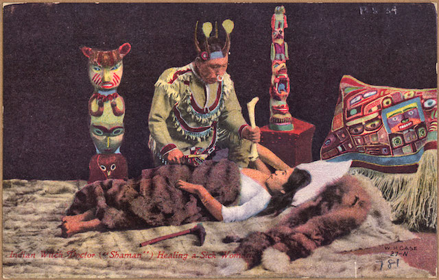 "Color_post_card._Indian_witch_doctor_(""shaman"")_healing_a_sick_woman._-_NARA_-_297728"