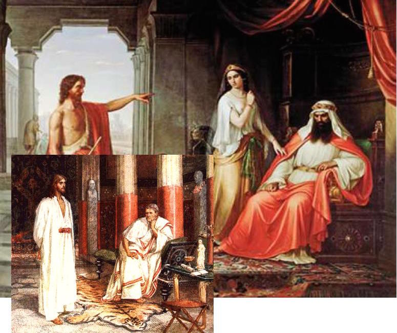 John before Herod; Jesus before Pilate