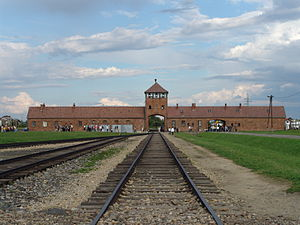 The main gate at the former nazi death camp of...