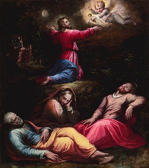 Giorgio Vasari: An angel strengthens Jesus pra...