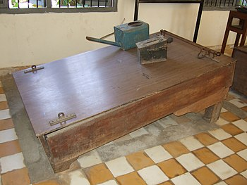 Waterboard displayed at Tuol Sleng Genocide Mu...