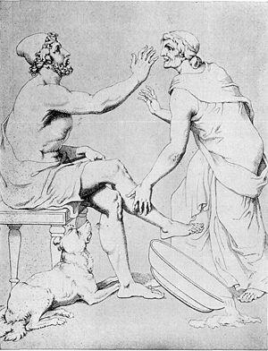 Odysseus and Eurycleia, by Christian Gottlob Heyne